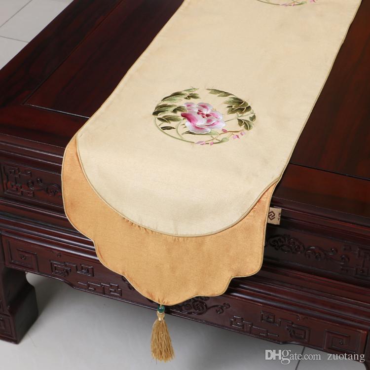 Kurze Länge Feine Bestickt Patchwork Tischläufer Chinesischen stil Esstisch Matten Schützen Pads Silk Brokat Kaffeetisch Tuch 150x33 cm