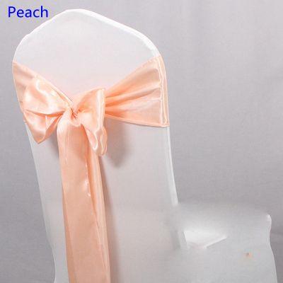 Peach satin sash sash silla de alta calidad pajarita para la silla cubre sash party hotel banquete de boda decoración del hogar al por mayor