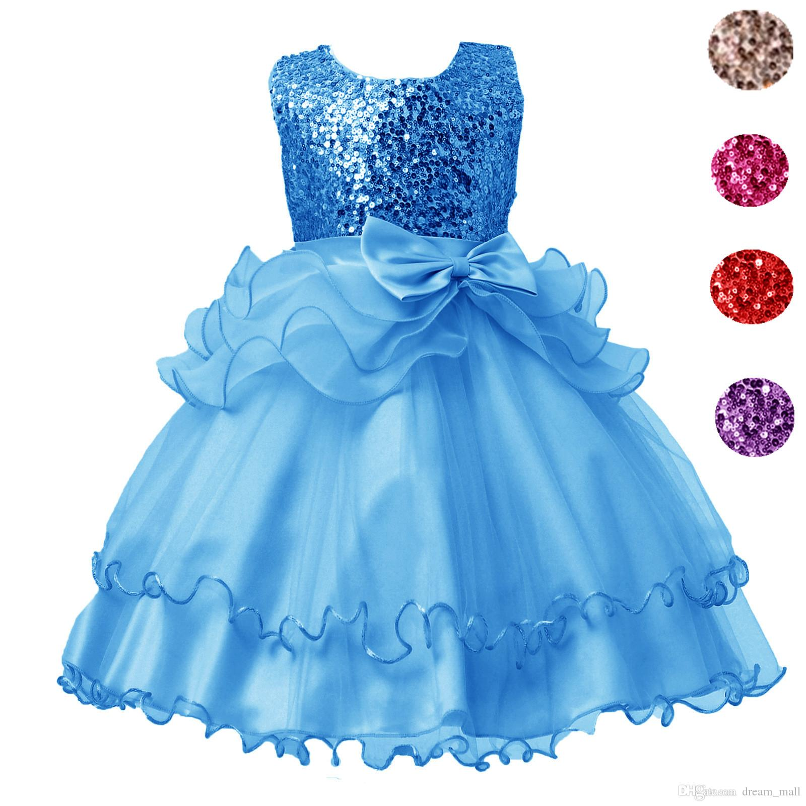 2017 Sequined Party Prom Birthday Dress Kids Ruffled Princess Flower ...