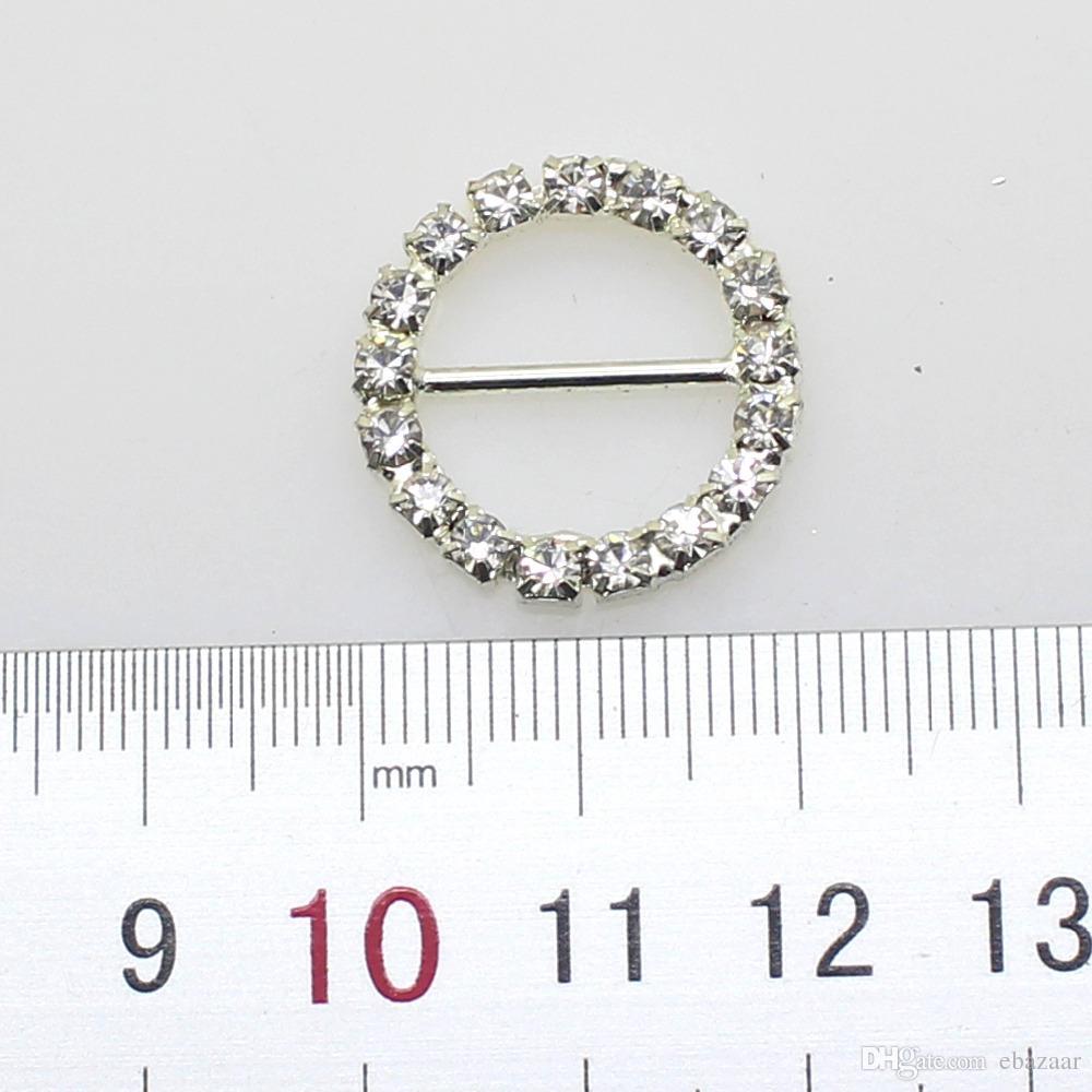 Prezzo di fabbrica DIA 21mm 16mm Bar Clear Round strass fibbie invito a nozze Diamante Ribbon cursori