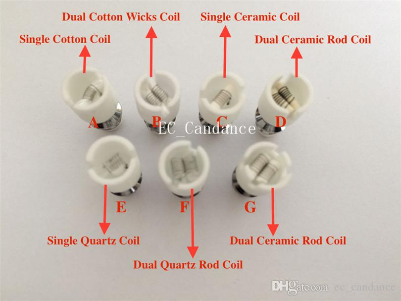 Quartz atomizer dual Ceramic Rod Wax Coil WAX Core Coils wax replacement Ceramic Rod Coil for Glass Globe Skull Tank Atomizer vaporizer