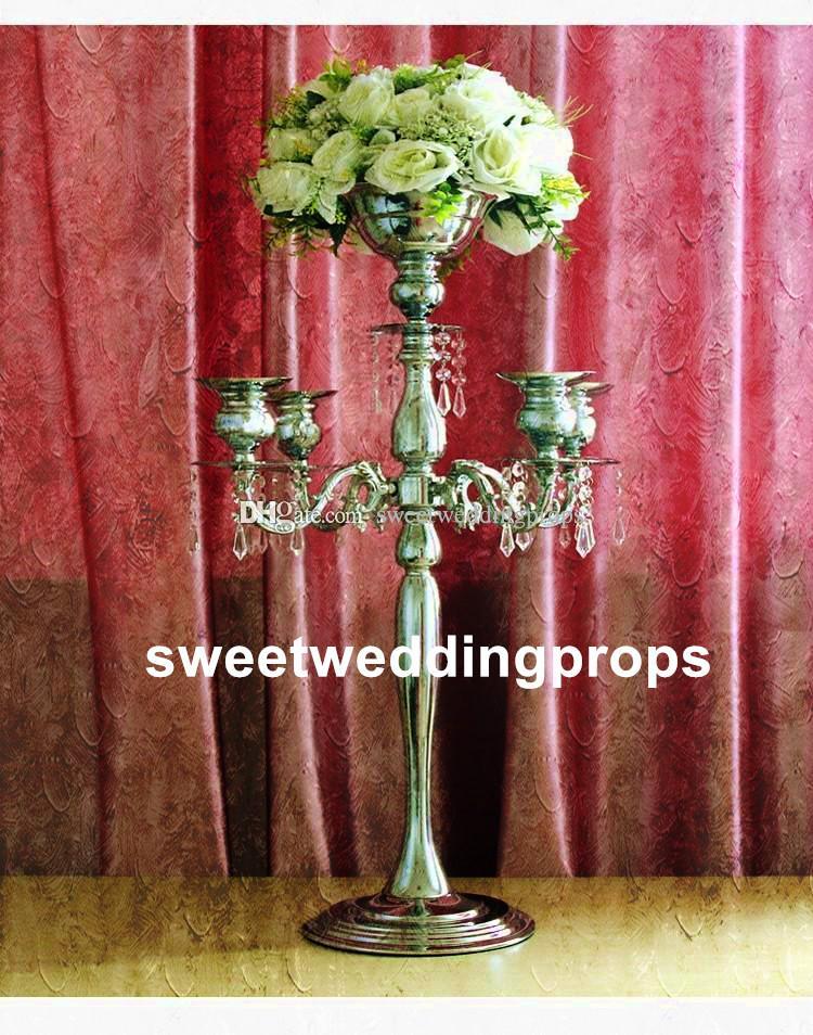 hermoso florero de flor de metal alto paited flor soporte central de la boda para la decoración de bodas