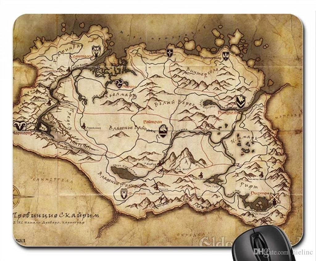 Skyrim Map Mouse Pad Customized Game Mouse mat Rectangle gaming mouse pad
