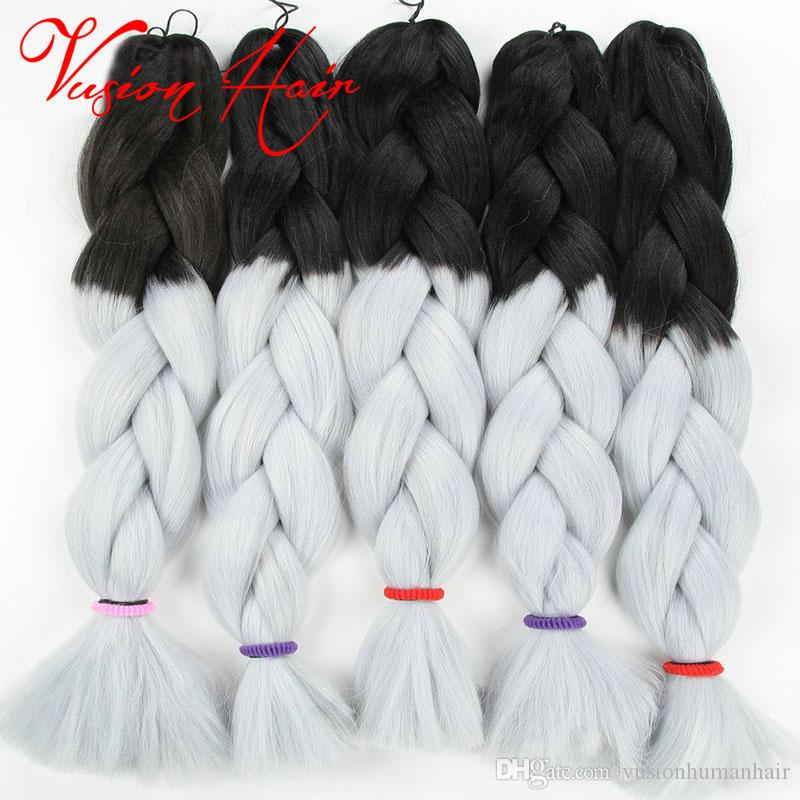 Ombre 3 두 믹스 컬러 Kanekalon 꼰 머리 합성 점보 꼰 머리 확장 24inch 크로 셰 뜨개질 머리카락 대량 도매 가격