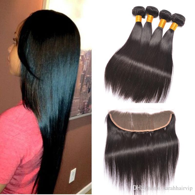 Menschliches Haar Bundles Mit 13x4 Frontal-brasilianischen Gerade Menschliche Haarwebart Bundles Mit Verschluss Haar Verlängerung Haarsalon Versorgungskette