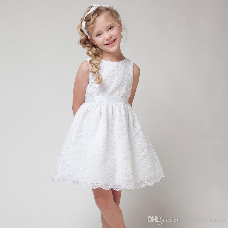 Compre 2017 VERANO NUEVA Ropa De Los Niños Niñas Niñas Hermosa Calidad Del  Vestido Del Cordón De Los Bebés Blancos Vestido De Adolescente Se Visten  Para ... af5dfb52334