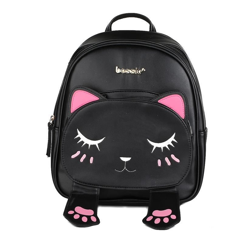 Cute Cat Animal Embroidery Backpacks Women Kawaii Black PU Leather Backpack  For Teenage Girls Funny School Bag Causal Rucksacks Leather Backpack Laptop  ... 67a1c0d94a50b