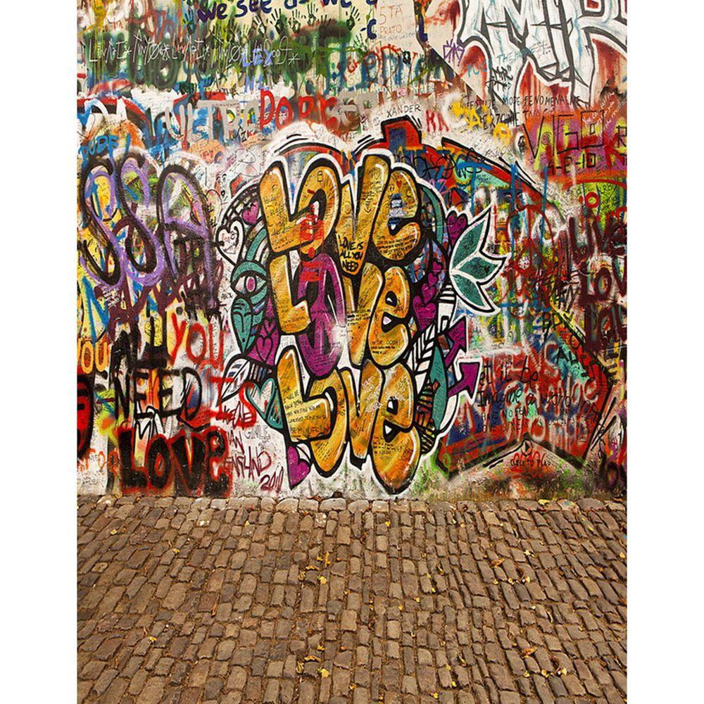 2018 Vinyl Graffiti Wall Background Photography Brick Floor Children Kids Photo Studio Backdrops Booth Props Fundo Fotografico Para Estudio From