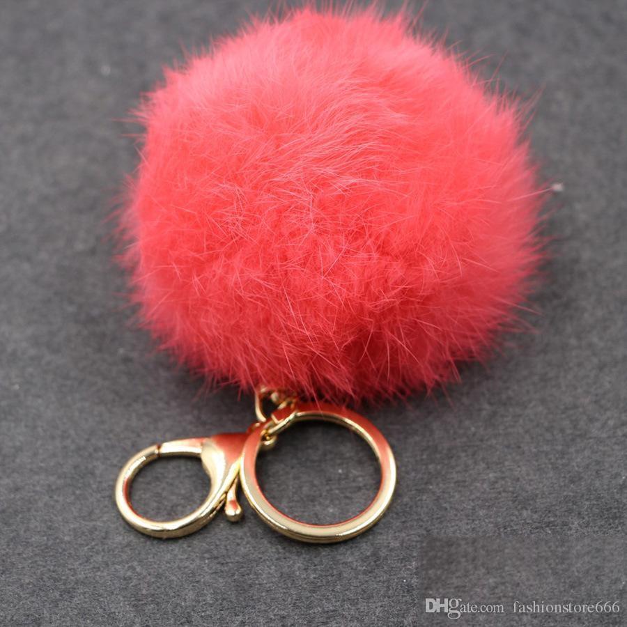 Reale coniglio Catene sfera della pelliccia portachiavi soft sfera della pelliccia bella Gold Key sfera di metallo Pom Poms peluche del sacchetto di Keychain degli accessori degli orecchini