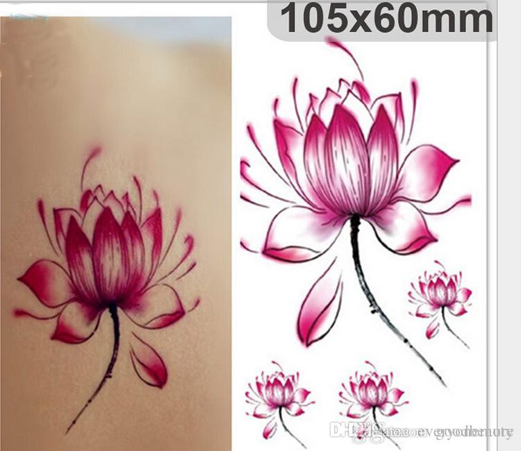 Fashion Disposable Tattoo Stickers Fresh Water Lily Flower Floral