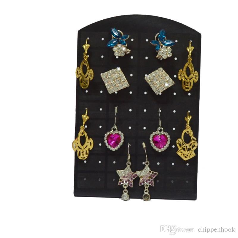 Wholesale Black Acrylic Fashion Earrings Display Stand Rack Mini Earring Display Organizer Storage Holder StandLow