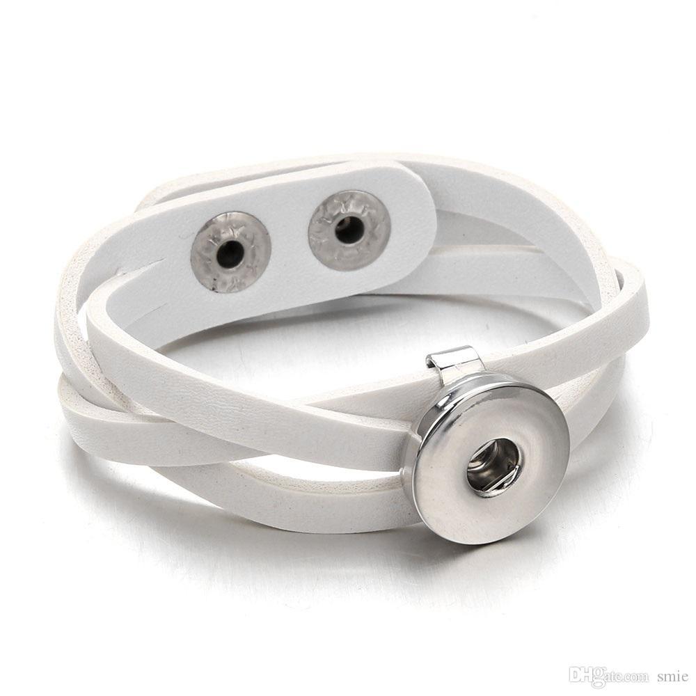 Di cuoio di modo Noosa unità di elaborazione del braccialetto di fascino fai da te 18 millimetri Ginger Snap Button Nosa Bocconcini Bracciali braccialetto le donne Dichiarazione gioielli j4129