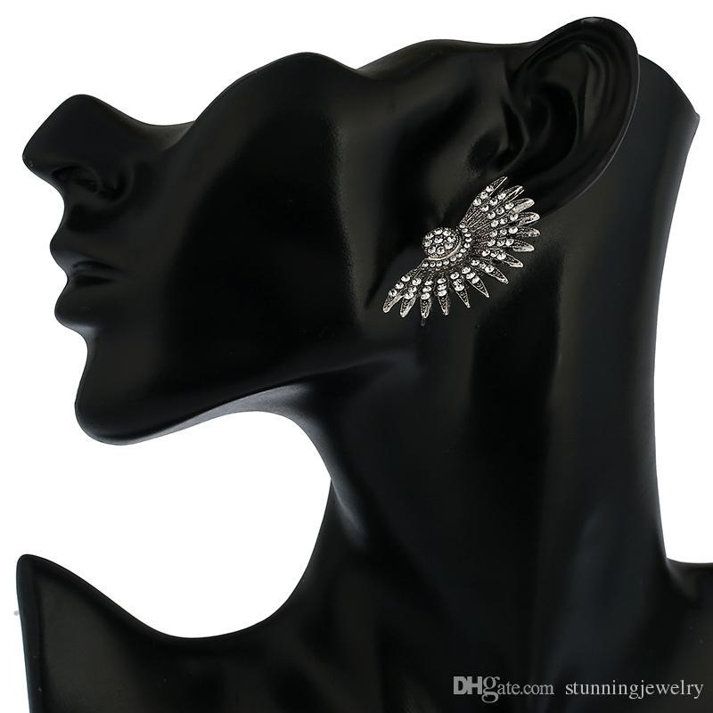 Fan Half Sun Vintage Style Silve Black Metal Stud Rhinestone Earings Ethnic Spike Punk Ear Studs Nail Earrings For Women