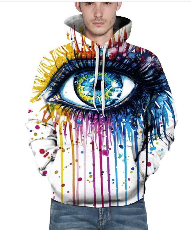 2bca742b6 Paint Fashion Stylish Men/Women Hooded Hoodies 3d Print Paint Eyes Thin  Sweatshirts ...