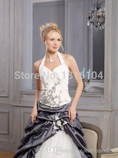 Cheap White And Grey Two Tone Colorful Wedding Dress With Color A-line Sweep Train Long Bubbles Taffeta Halter Bridal Gowns Non White