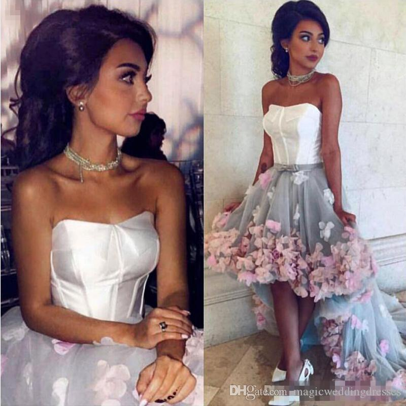 White And Gray Bodice High Low Prom Dresses Lace Up Colorful Applique Sweep Train Evening Gowns South African Strapless Formal Party Dresses