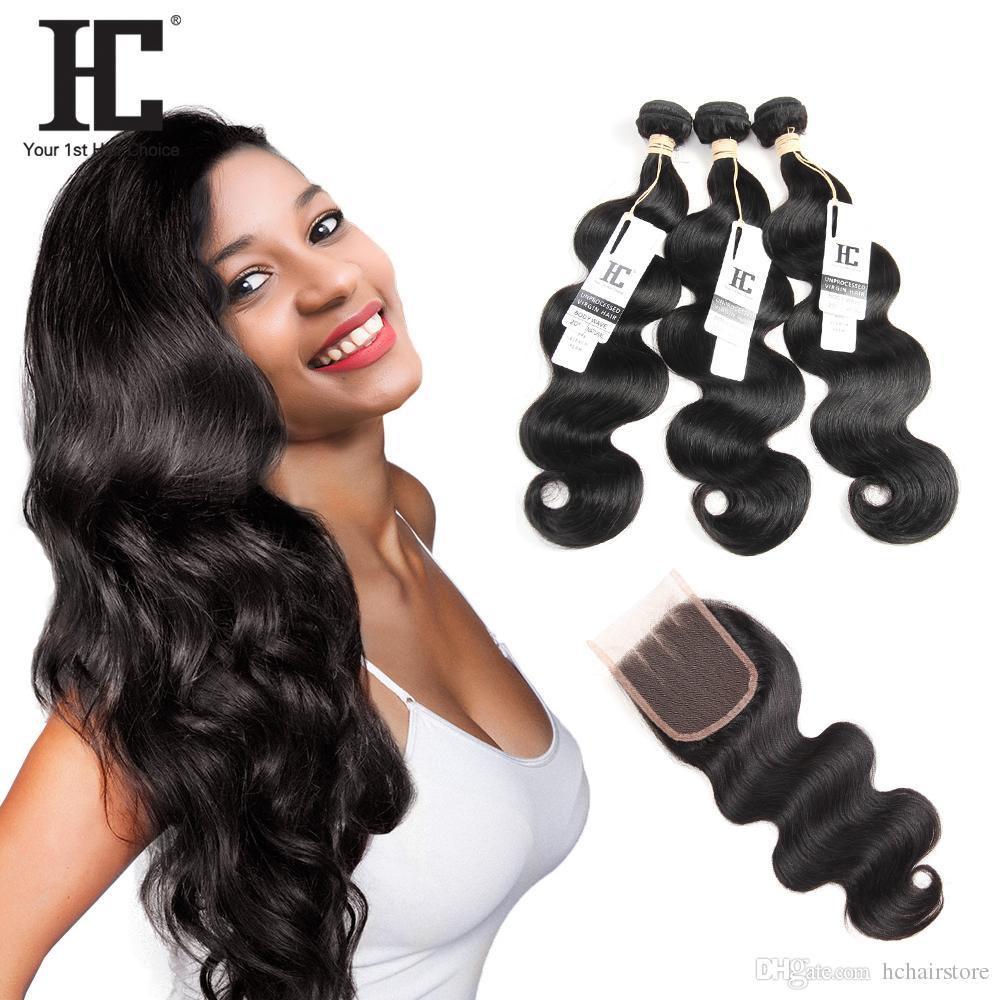Cabello brasileño de la Virgen del pelo de HC con el cierre 3 paquetes Onda india malasia peruana brasileña del cuerpo de la armadura del pelo humano con el cierre del cordón