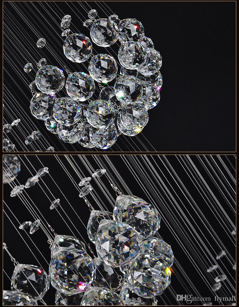Moderne Grand Lustre En Cristal Lumière Goutte De Pluie Goutte En Cristal Sphère Plafonnier Luminaire Longue En Cristal Escalier Lampe Flush Mounted Escalier Lumières