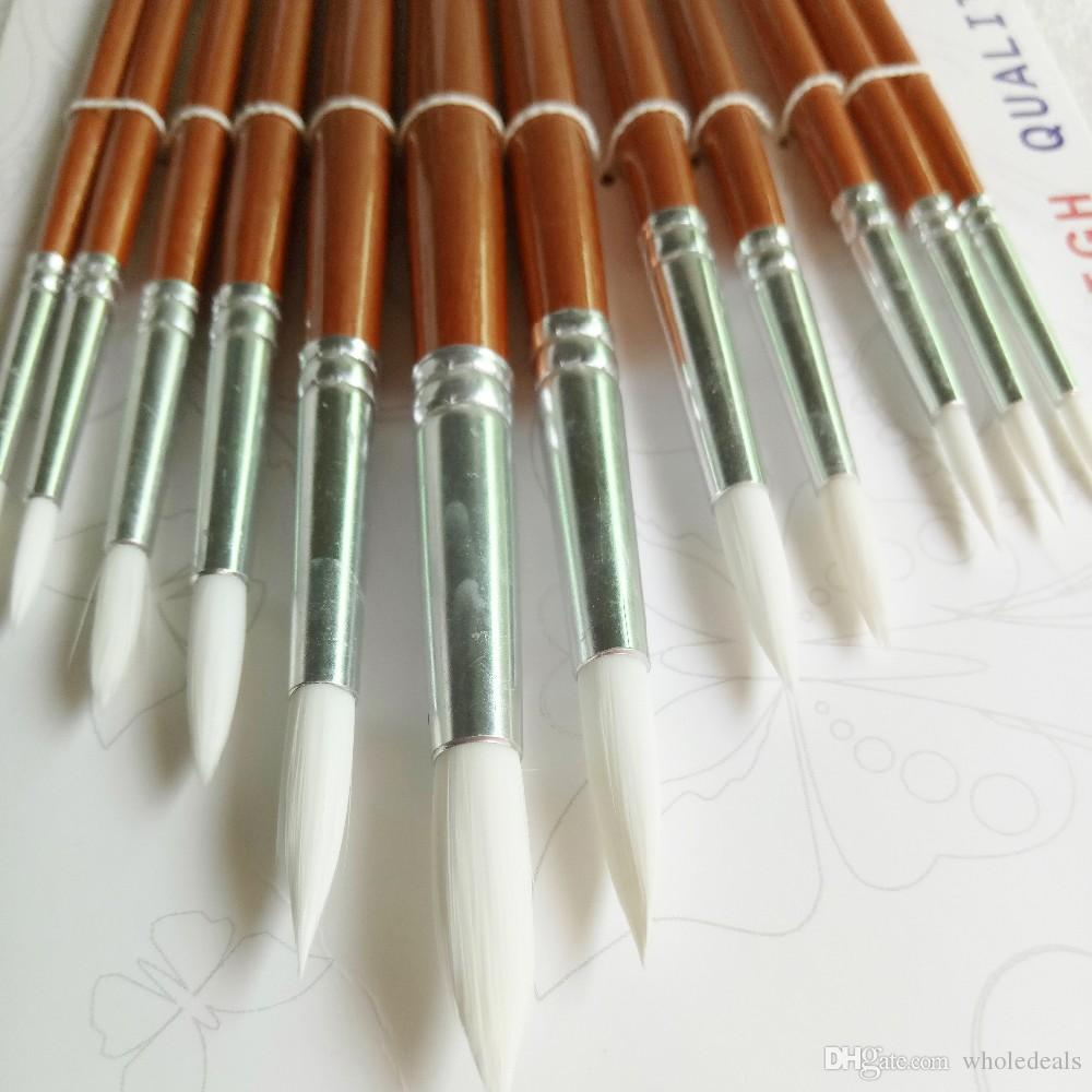 Round Shape Nylon Hair Wooden Handle Paint Brush Set For Art School Watercolor Acrylic Painting Supplies