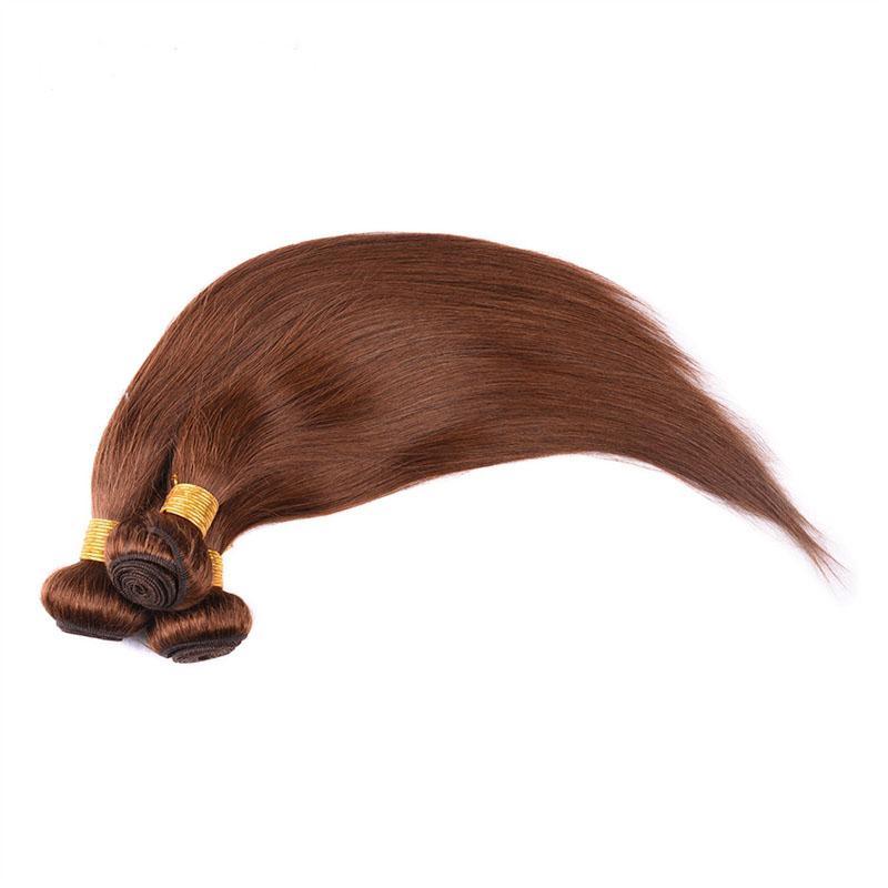 Cheap Brazilian Virgin Hair Bundles Straight 4 Brown Color 8A Grade 100% Remy Human Hair Weaves Extensions 8-30 inch
