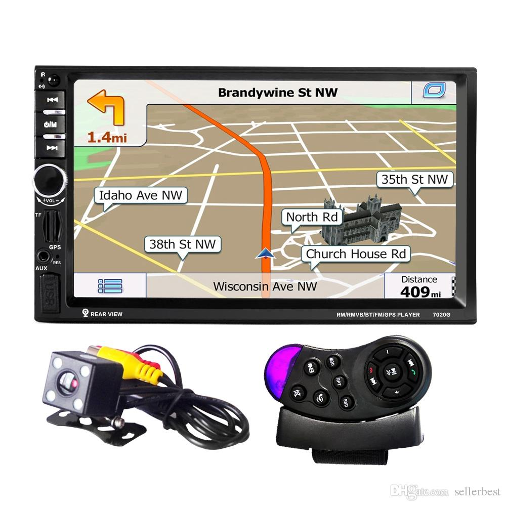 "7020G Car MP5 Player with Rearview Camera Bluetooth FM GPS 7"" TFT Touch Screen Car Audio Stereo With Wheel Remote Control Russia Map Car dvd"