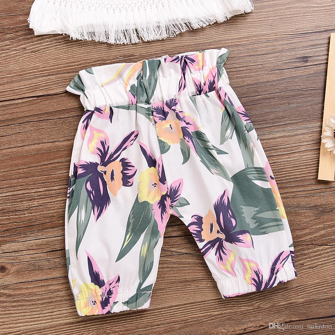 Mikrdoo Hot Sale Baby Suit Summer 2017 Cute Newborn Kids Girl Clothes Tassel Sleeveless White Tops Floral Pants Headband Outfit Top Set