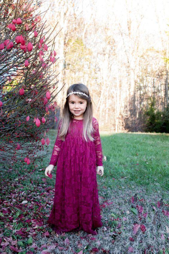 Lace Long Sleeves Boho Abendkleider für kleine Mädchen 2017 New Vintage Burgund Lange Blume Mädchen Kleider Mädchen Festzug Kleider 033
