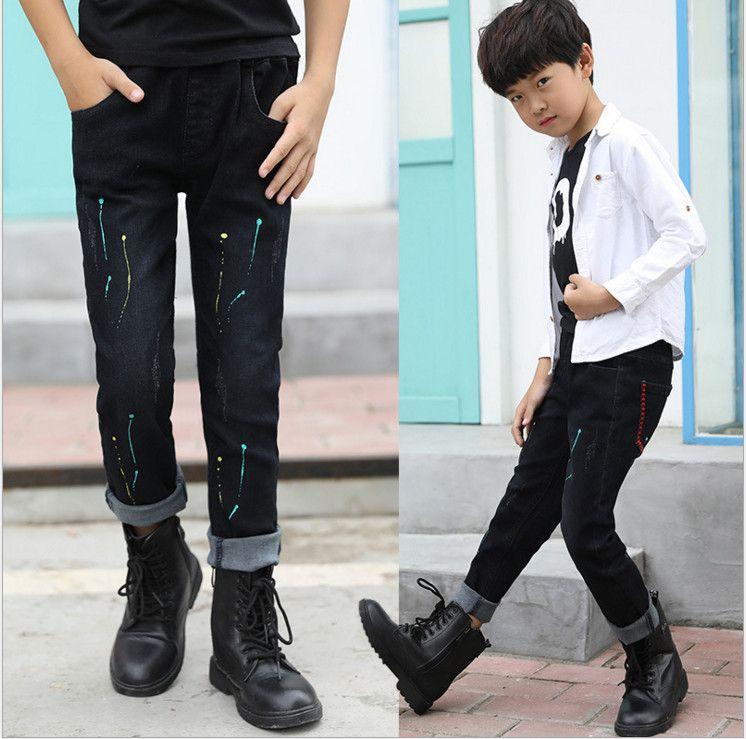 2692a8d2b 2017 New Arrival Autumn Fashion Kids Long Trousers Cool Navy Blue Denim  Cotton Elastic Waist Colorful Jeans Pants For Big Boy 100 170cm Kids Jeans  Shorts ...