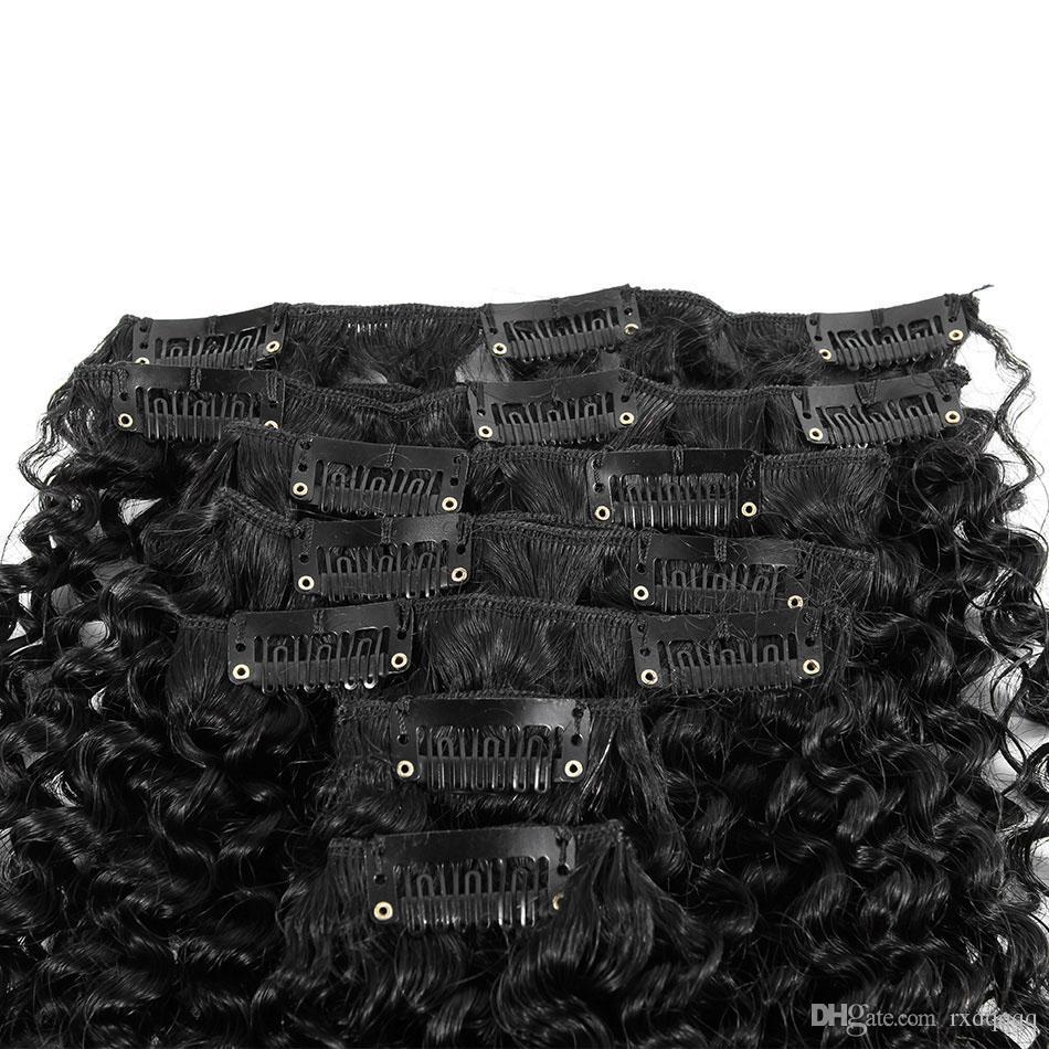 Clip di capelli ricci crespi 100g 120g nelle estensioni dei capelli umani