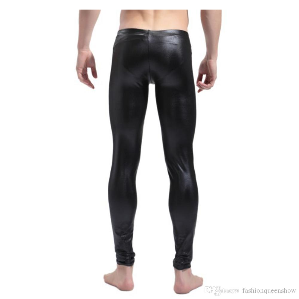 Black/Red Men Faux Leather Skinny Pencil Pants Stretch Leggings Sexy Trousers Pole Dance Stage Clubwear