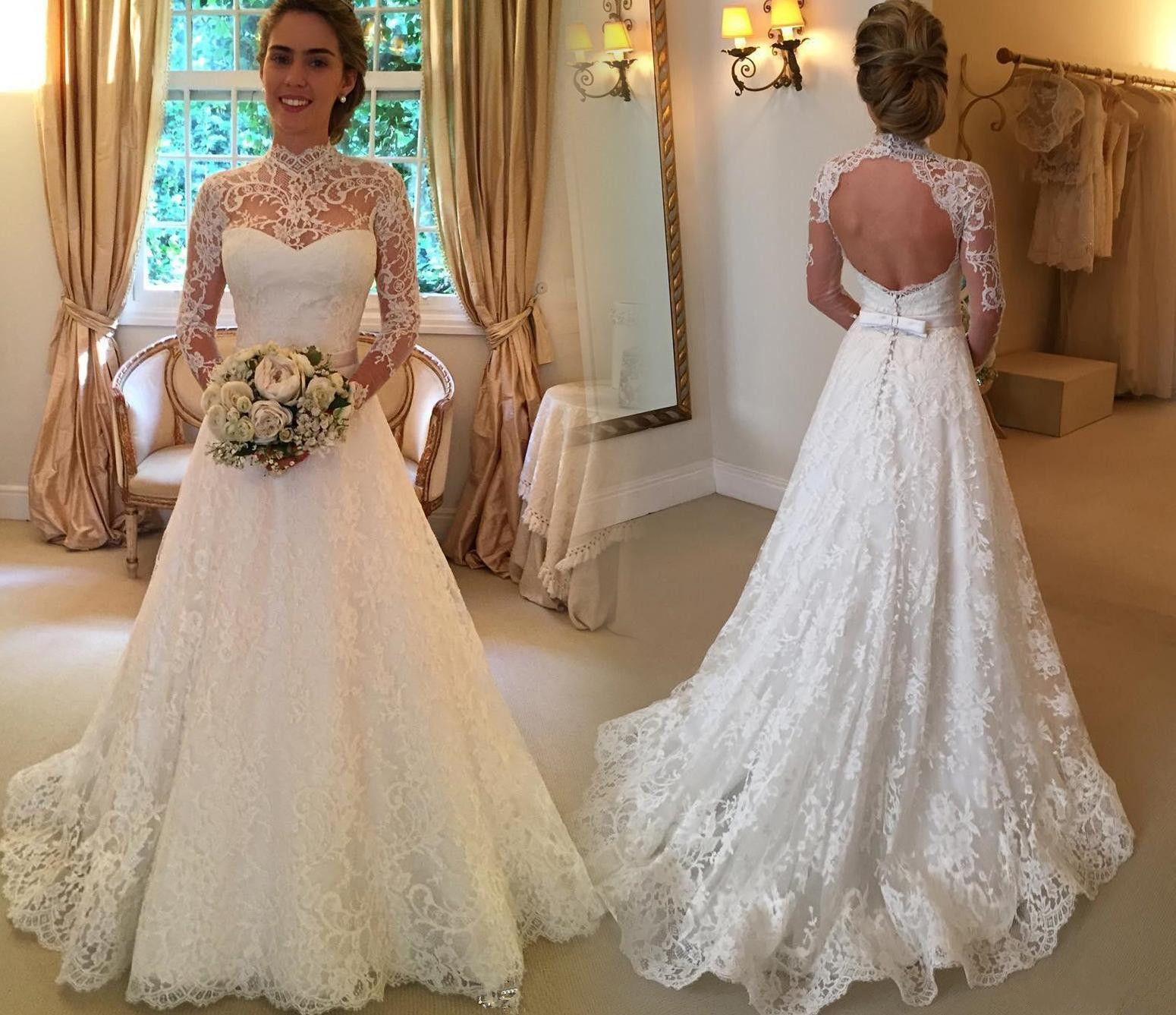 Discount 2017 Lace Bridal Gowns Applique High Neck Keyhole Back Long ...