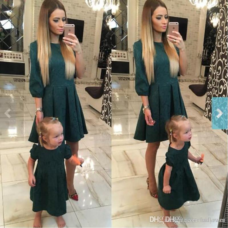 Mother Daughter Dresses Fashion Long Sleeve Dark Green Floral Family