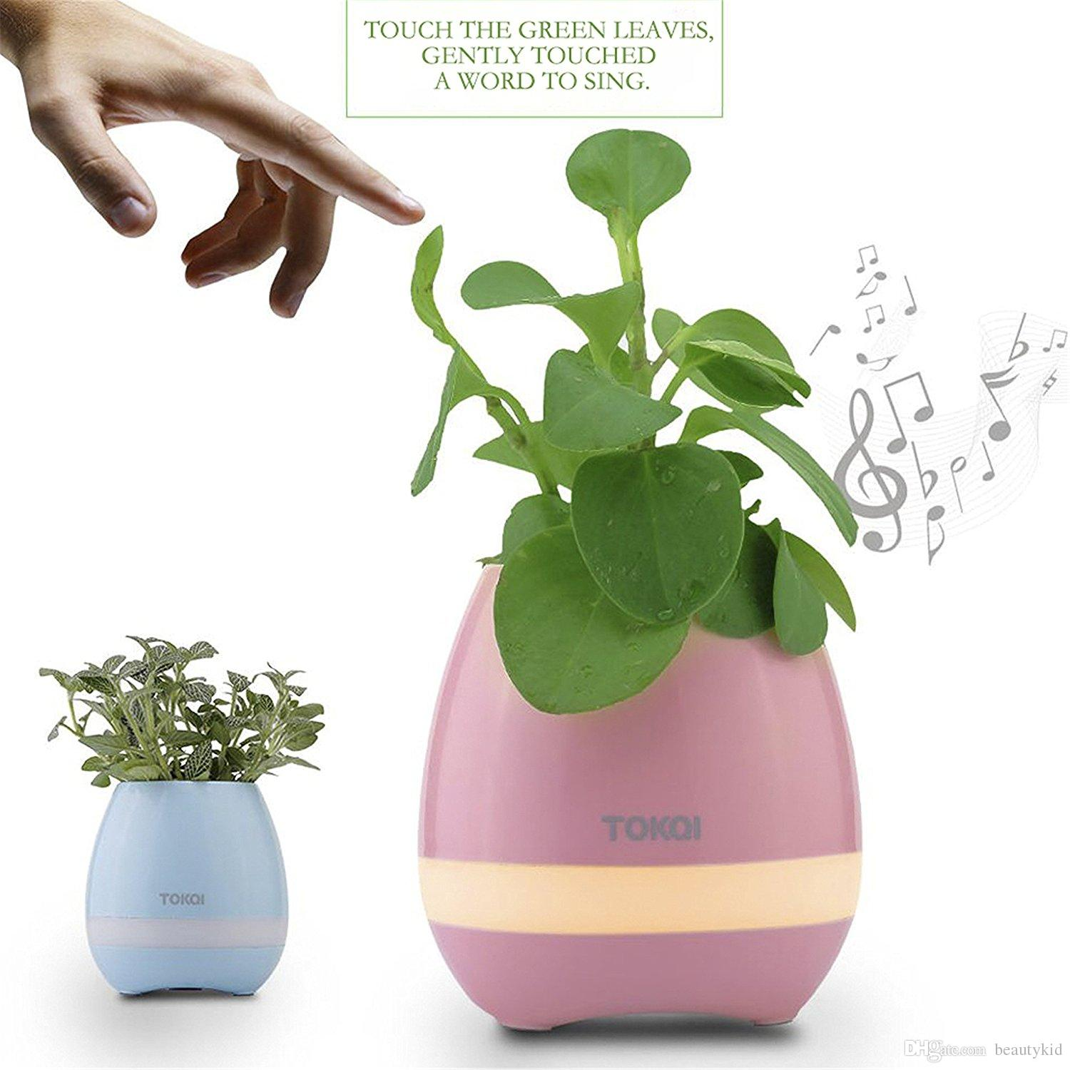 Musique Plant Lampe Smart Flower Pots Rechargeable Étanche Bluetooth haut-parleur Sans fil Smart Touch Plant Piano Musique Night Light Pot HFB001