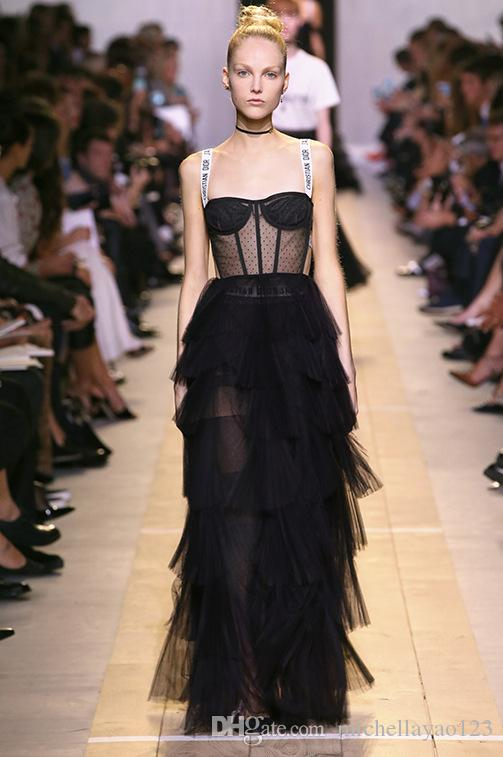 2019 Runway Dress 2017 Black Spaghetti Straps
