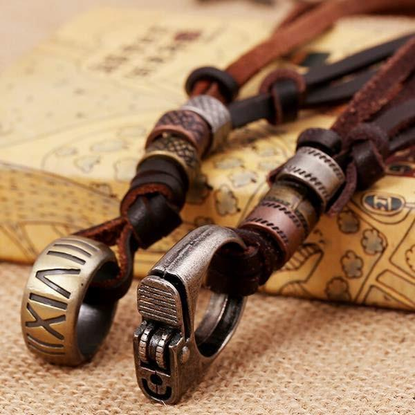 Wholesale-Steampunk Jewelry Lighter Number Pendant Necklace Vintage Brand Leather Necklaces for Mens Unisex Party Wedding Jewelry Gift