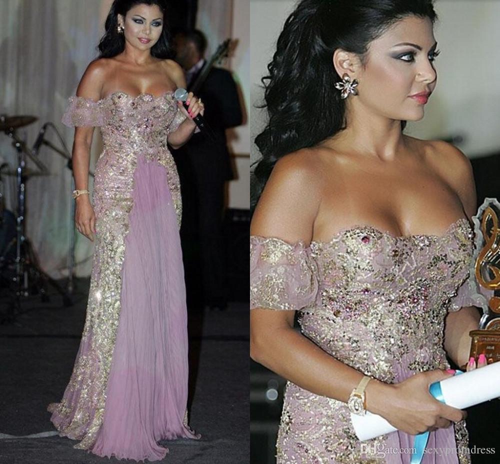 Light Purple Off Shoulder Vestidos de baile Lentejuelas Apliques Con cuentas Sin respaldo Vestidos de noche Vestidos de fiesta largos con volantes árabes Vestidos