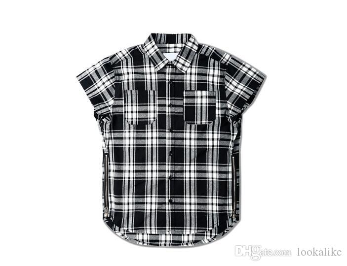 See larger image - High Quality Cotton Man Plaid Shirt Trend Sleeveless Side Zipper