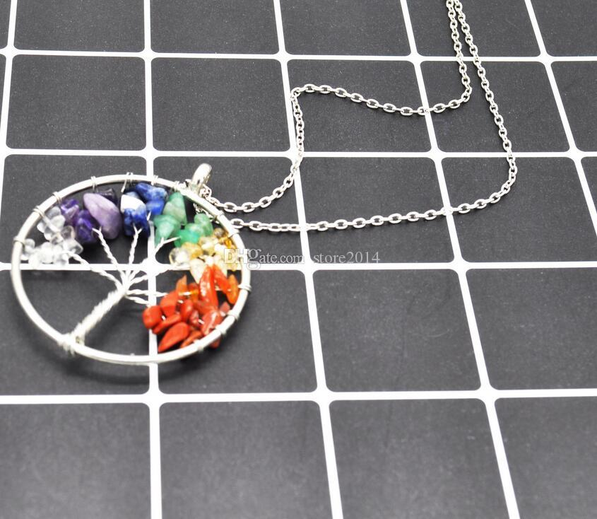 New Women Rainbow 7 Chakra Amethyst Tree Of Life Quartz Chips Pendant Necklace Multicolor Wisdom Tree Natural Stone Necklace