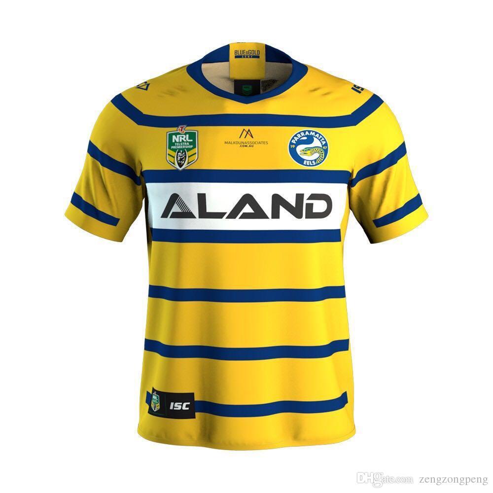 53710d69b62 2019 2018 PARRAMATTA EELS Away Rugby 2017 Newest PARRAMATTA EELS Cronulla  Sharks Nines Jersey HOME America BLK BLUE RWC NRL Super Rugby Shirt From ...