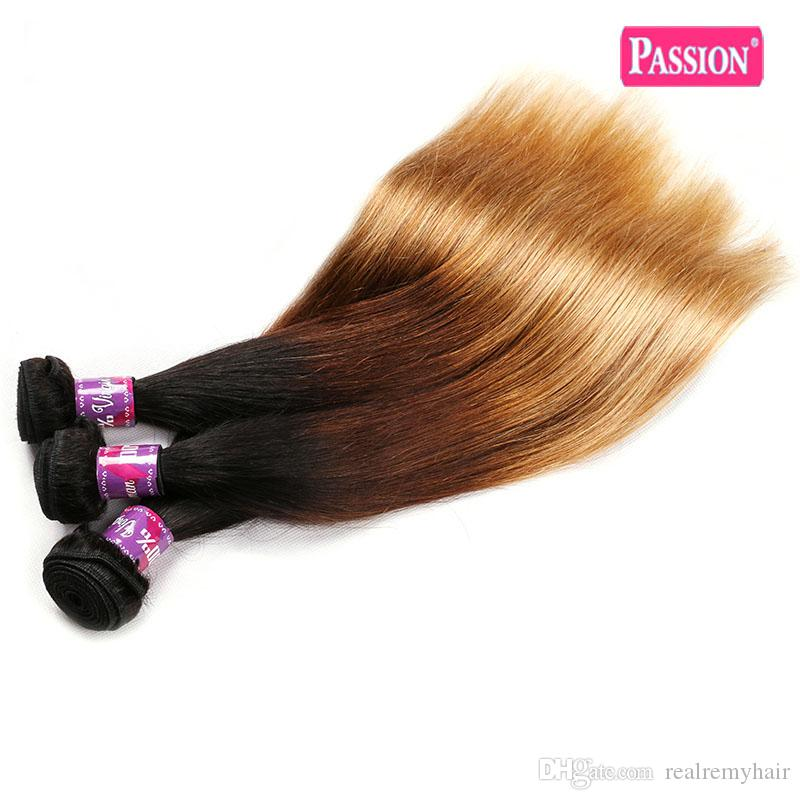 Brazilian Ombre Human Hair Weave 3 Tone 1b/4/27 Brazilian Blonde Remy Hair Bundles Wholesale Colored Straight Hair Extensions Deals