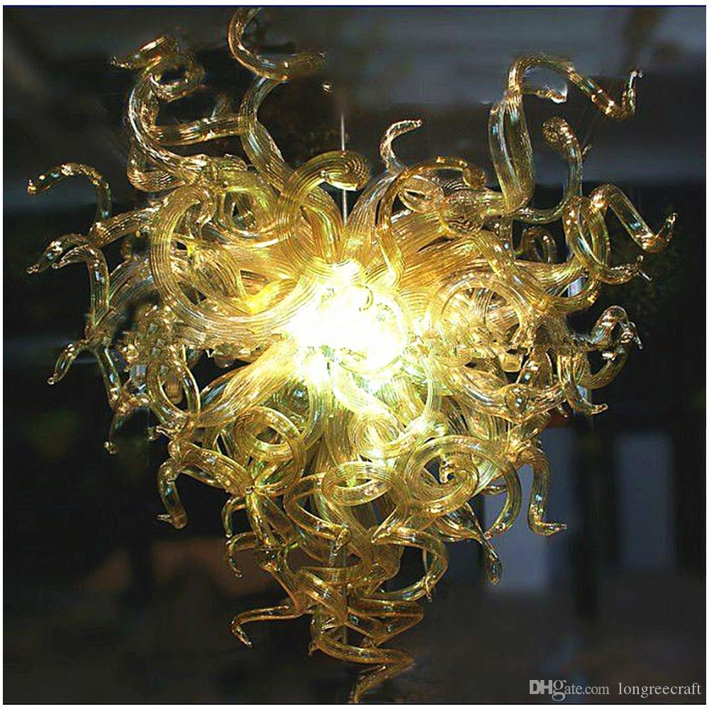 Golden Art Glass Lamps Unique Heart Shape 100% Hand Blown Glass Chandelier Lightings Chihuly Style Chandeliers
