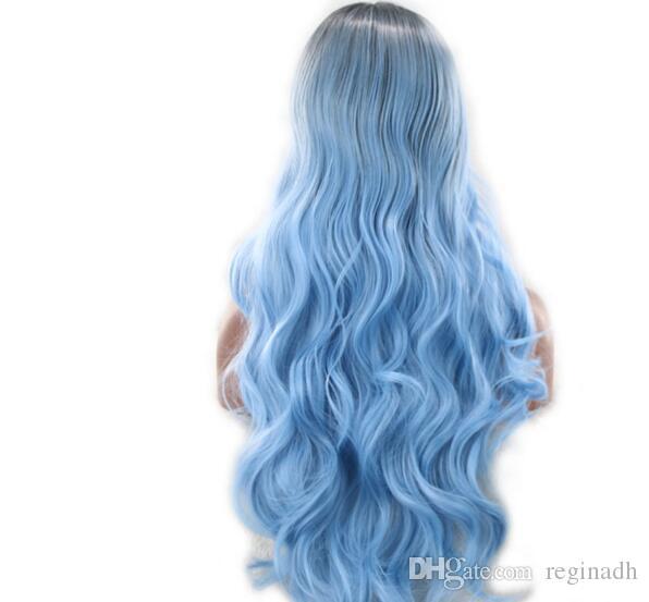 Parrucca di capelli arcobaleno pastello sirena sintetica arcobaleno colore rosa viola blu verde fluorescente capelli ombre parrucca anteriore parrucca parrucche cosplay