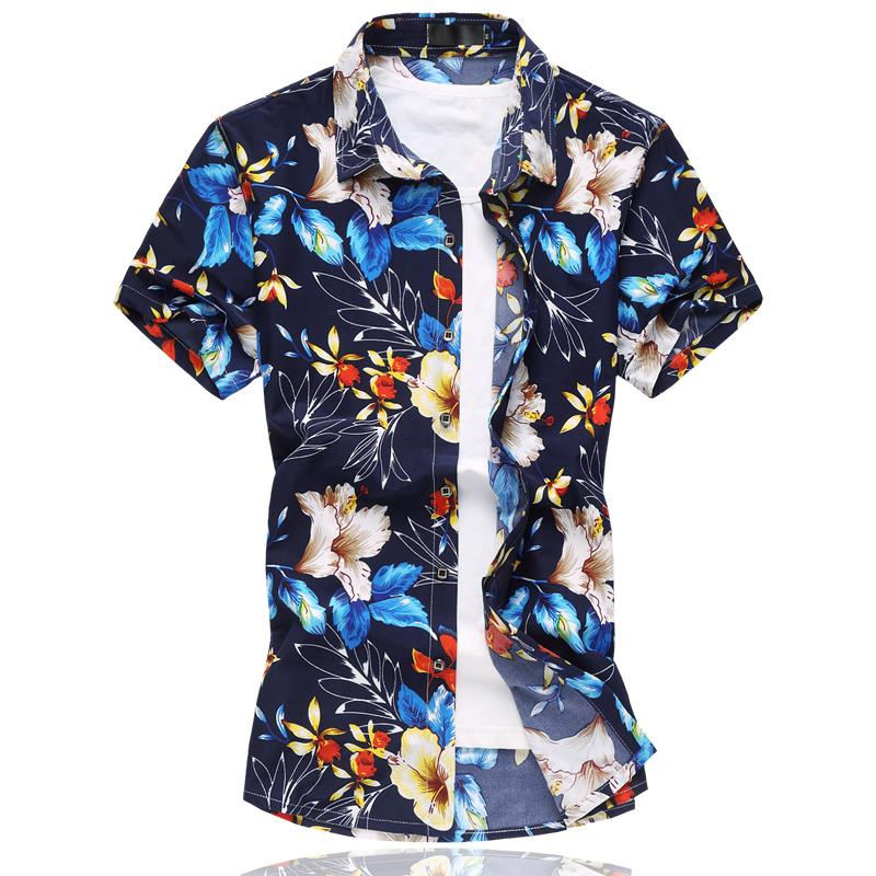 2018 High Quality Men'S Floral Print Shirt 2017new Summer Plus ...
