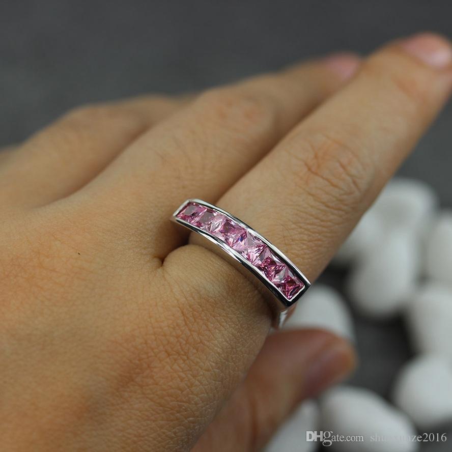 Lünette Einstellung Rhodium überzogene Ring Rosa Zirkonia R3602 Größe # 6 7 8 9 Fashion best sell Romantische Stil Frauen Schmuck Geschenk Pracht