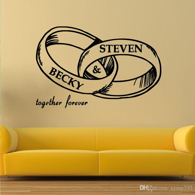 Cool Graphics Custom Lovers Names Vinyl Decal Wedding Rings Wall - Custom vinyl decals diy