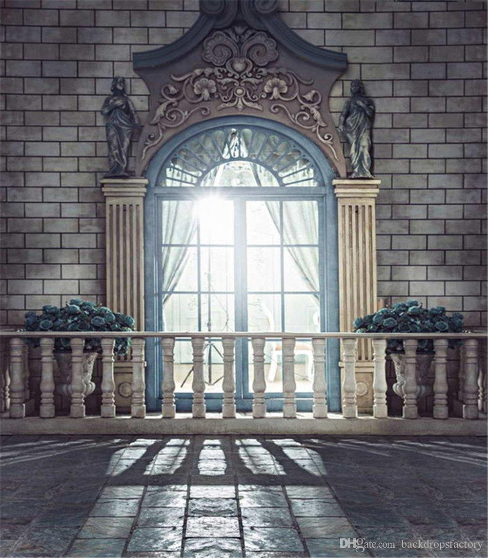 2018 Vintage European Architecture Romantic Wedding Photo Booth Backdrops Bright Door Church Curtains Marble Floor Studio Backgrounds Photography From ... & 2018 Vintage European Architecture Romantic Wedding Photo Booth ...