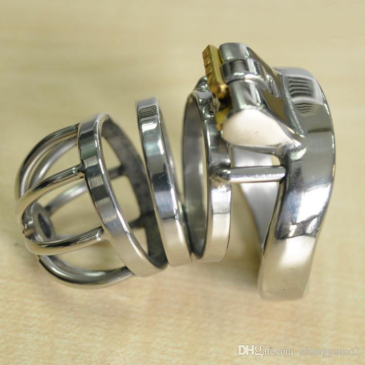 Small Male Chastity Device Stainless Steel Cock Cage With Curve Cock Ring BDSM Sex Toys For Men Chastity Belt
