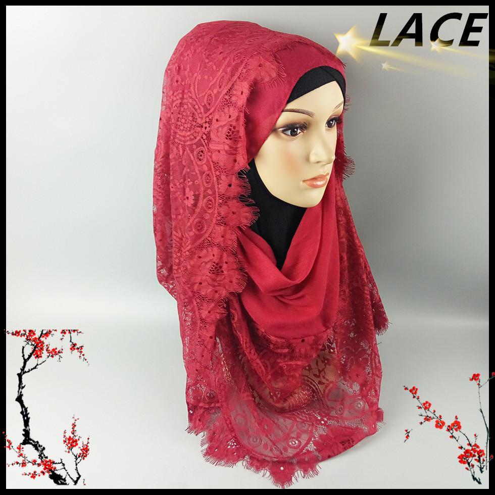 Acquista All\u0027ingrosso E3 Miglior Design Hijab Di Pizzo Grande, Sciarpa,  Scialle, Alta Qualità, 180 * 90 Cm, 10 Pezzi 1 Lotto, Può Scegliere I  Colori A