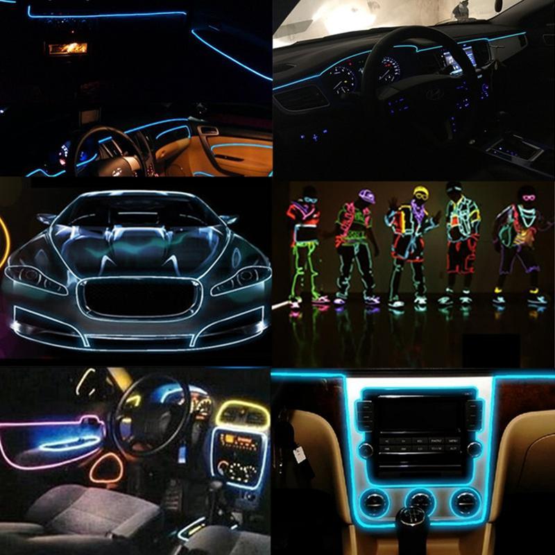 Edison2011 1M 2M 3M 5M EL Wire Strip Flexible Neon LED Light Glowing Tube Wire Dance Lights Party Decoration