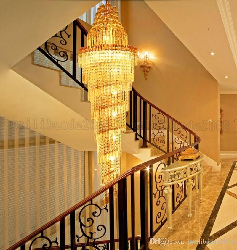 NEW Gold Chandelier Palace Swirl Large Crystal Pendant Lamp Villas Hotel Hall Light Staircase Lights Droplight MYY